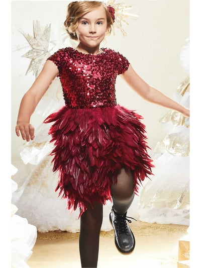 Girls Sequin Bodice Feather Dress  bla alt2