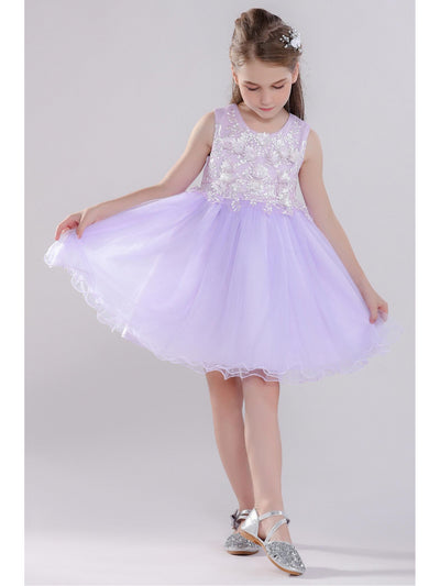 Girls Sequin Floral Dress