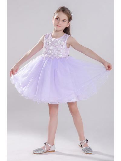 Girls Sequin Floral Dress  pur alt1