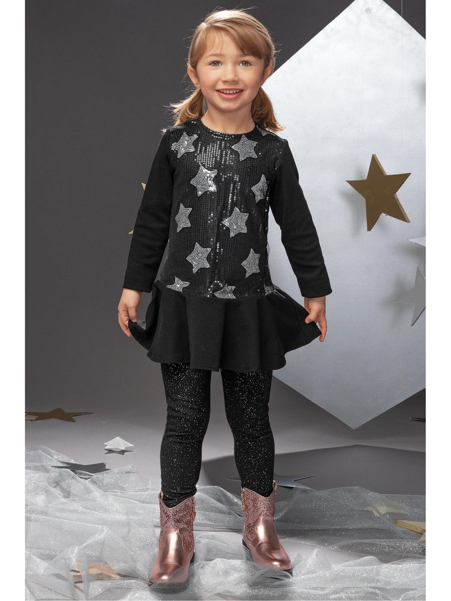 Girls Sequin Stars Drop Waist Dress