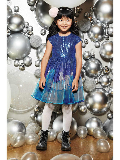 Girls Sequin Unicorn Dress  blu alt1