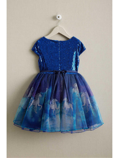 Girls Sequin Unicorn Dress  blu alt2