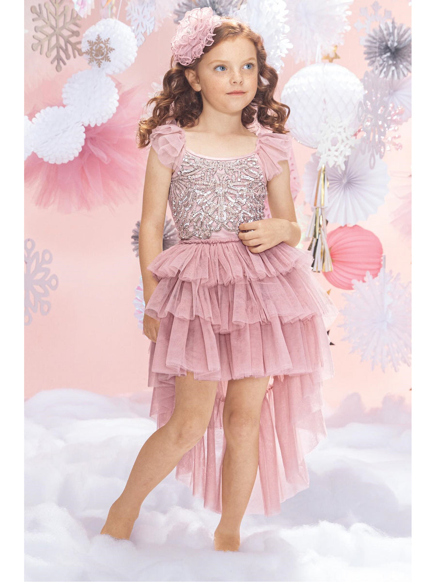 Girls Sequins & Tulle 3-Ruffle Dress