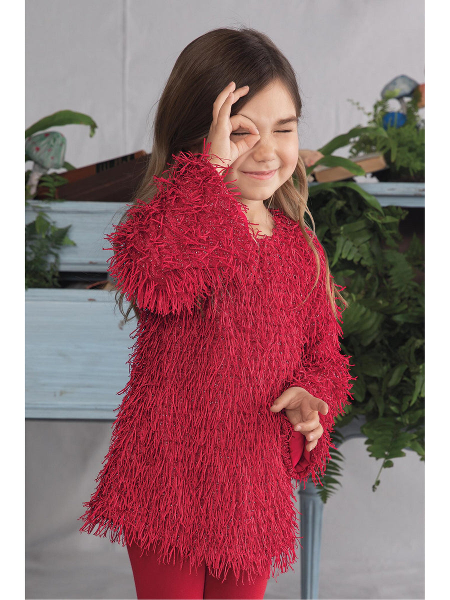 Girls Shaggy Red Tunic Dress