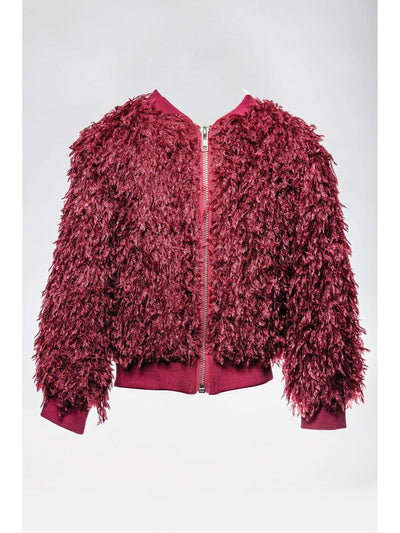 Girls Shaggy Zip Jacket  bur 1