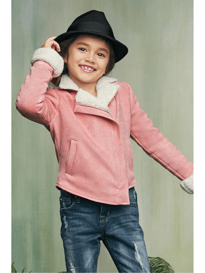 Girls Sherpa Moto Jacket  pin alt1