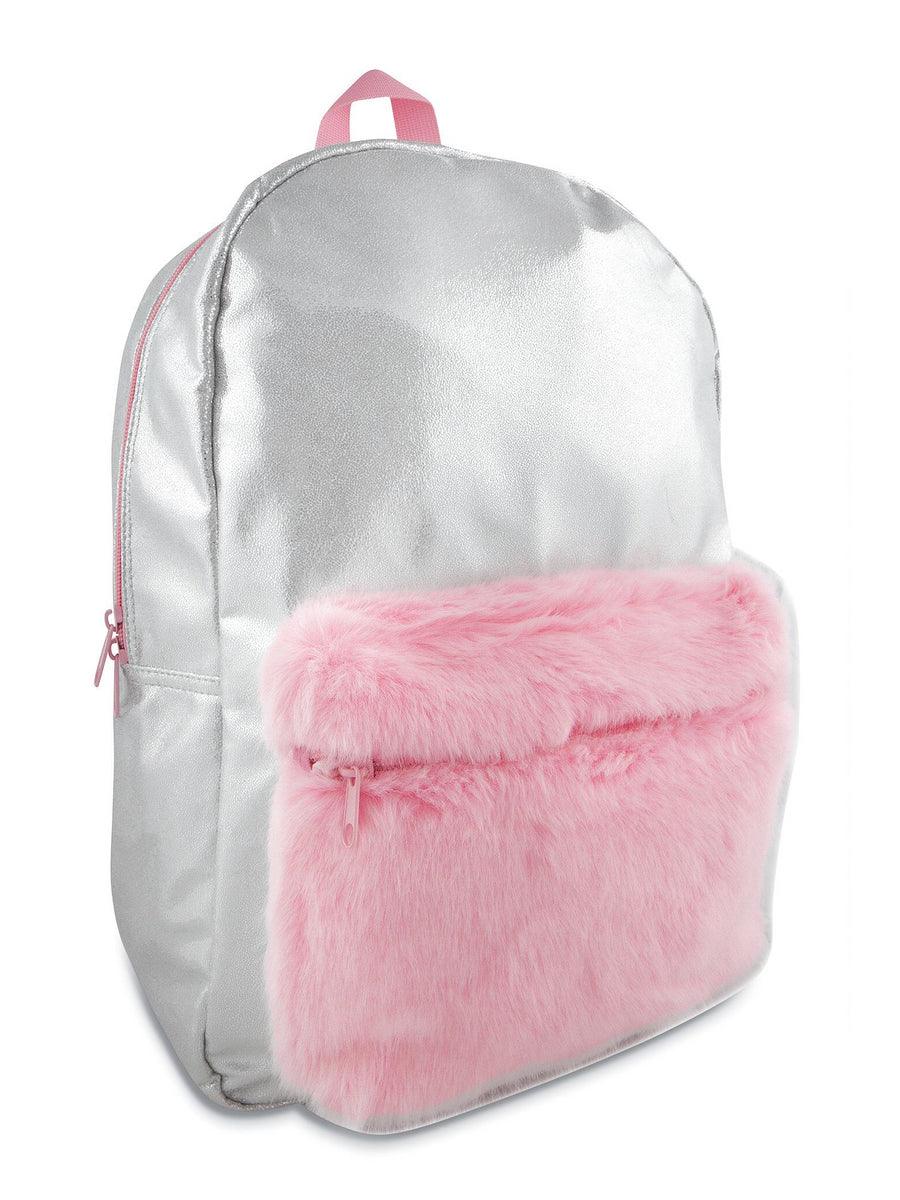 Girls Shimmer Backpack with Faux-Fur Pocket
