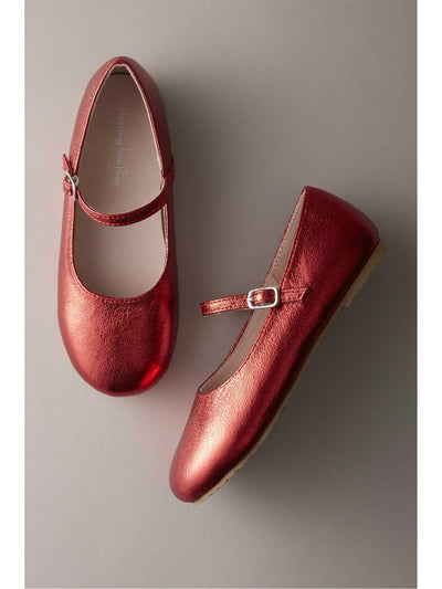 Girls Shimmer Mary Janes  red 1