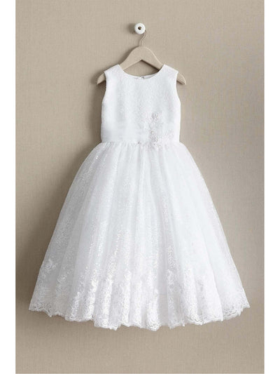Girls Shimmery Sequin & Lace Dress  whi alt1