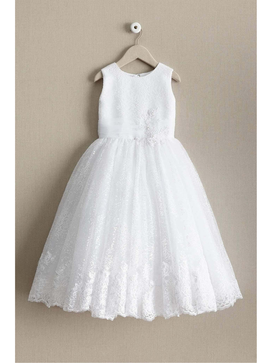 Girls Shimmery Sequin & Lace Dress