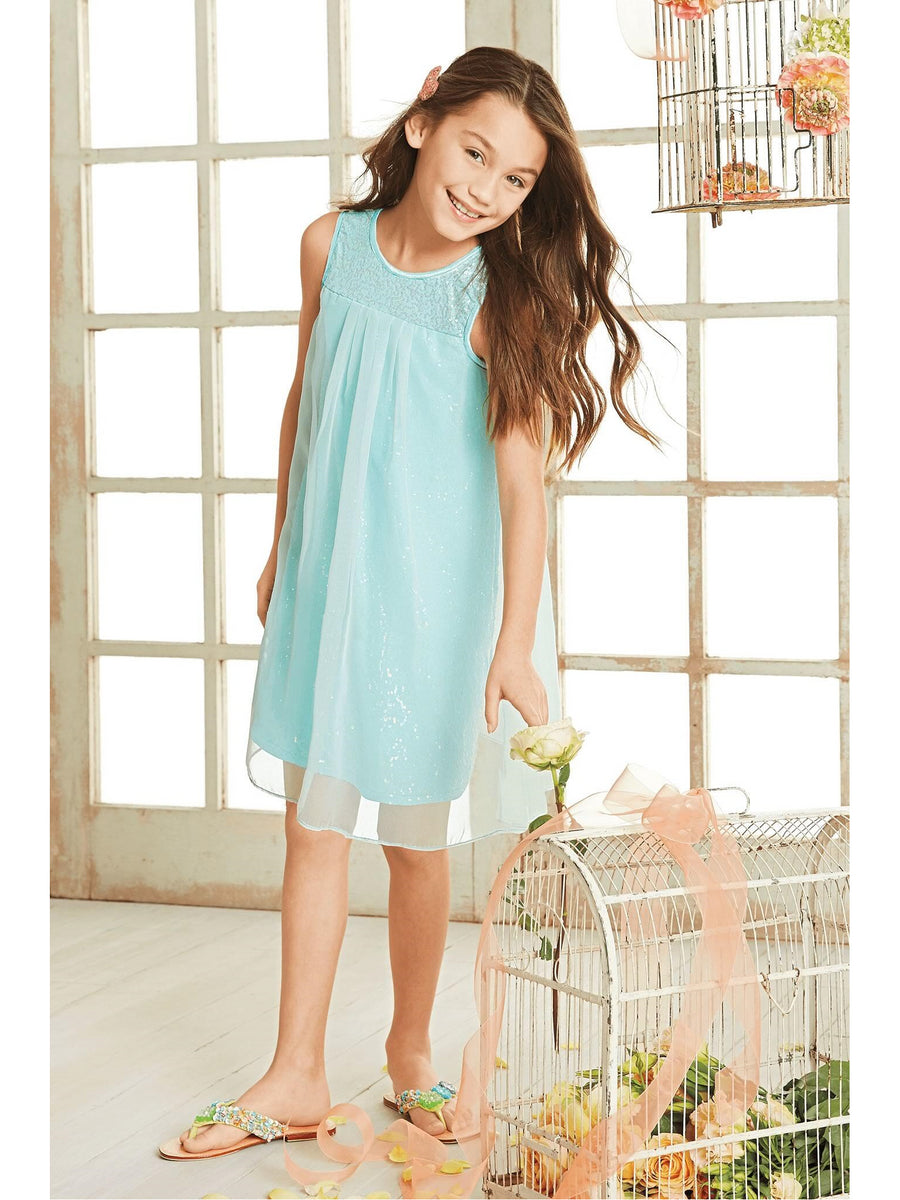 Girls Shimmery Shift Dress