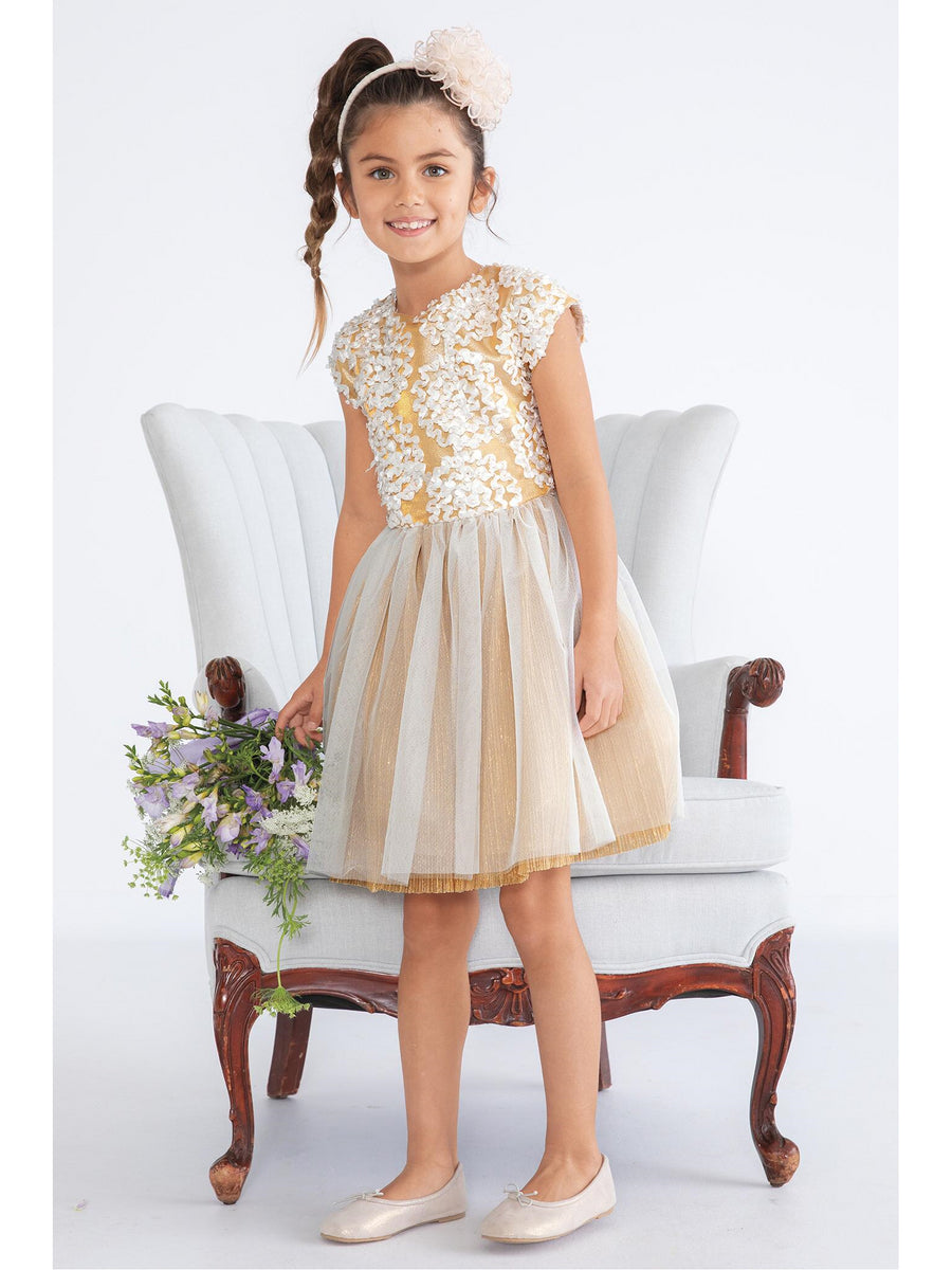 Girls Shimmery Soutache Circles Dress