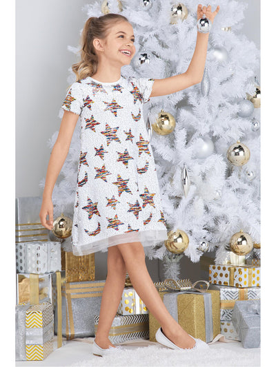 Girls Shiny Sequin Stars Dress