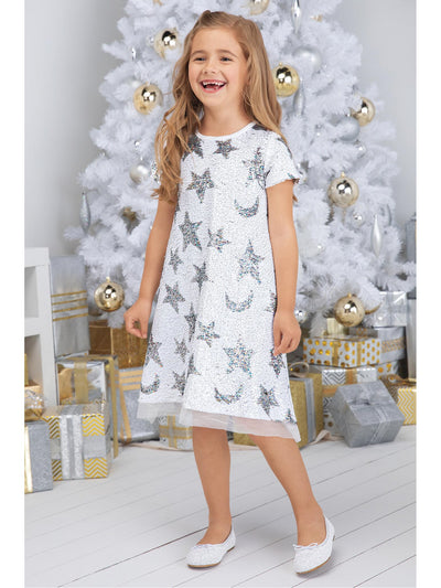 Girls Shiny Sequin Stars Dress  whi alt1