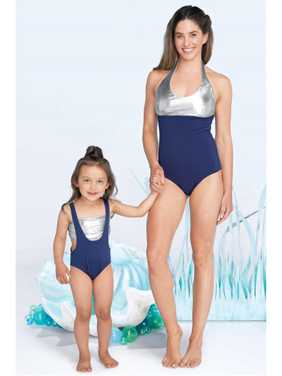 Girls Silver & Navy Swimsuit  navy alt1