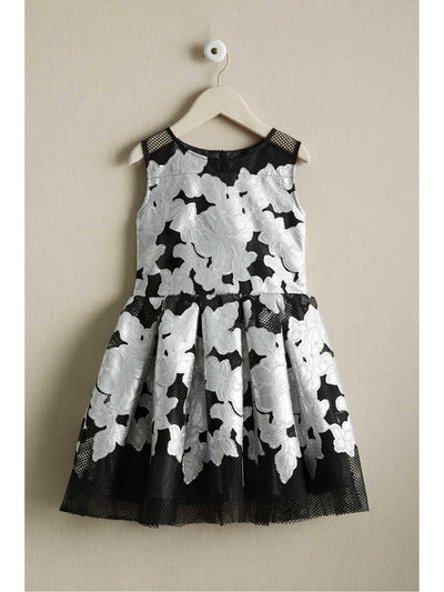 Girls Silver Applique Dress