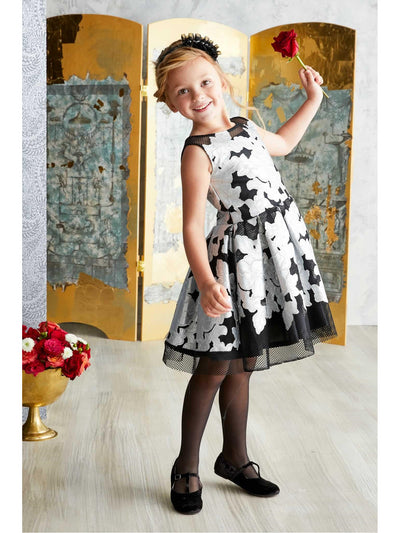 Girls Silver Applique Dress  sil alt1