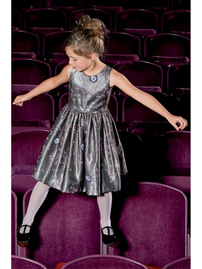 Girls Silver Embroidered Rose Dress