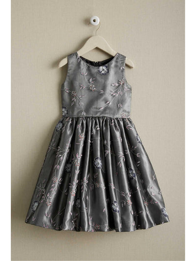 Girls Silver Embroidered Rose Dress  sil alt1