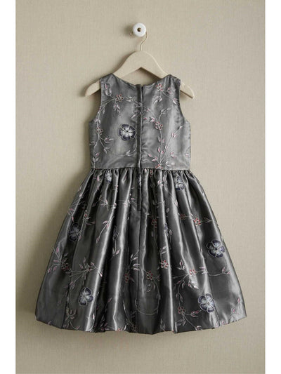Girls Silver Embroidered Rose Dress  sil alt2