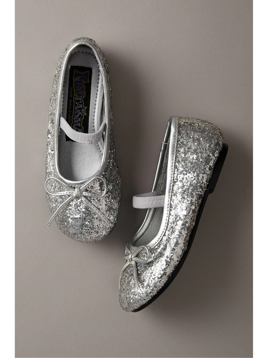 Girls Silver Sparkle Play Shoes