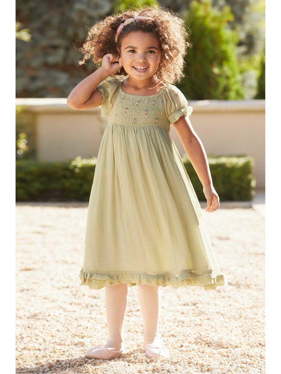 Girls Smocked Romantic Dress