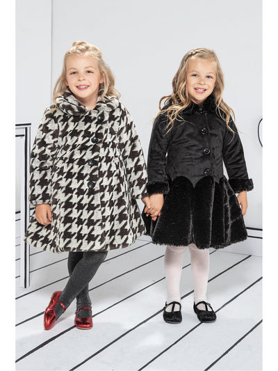 Girls Soft & Plush Skirt Coat  bk alt1