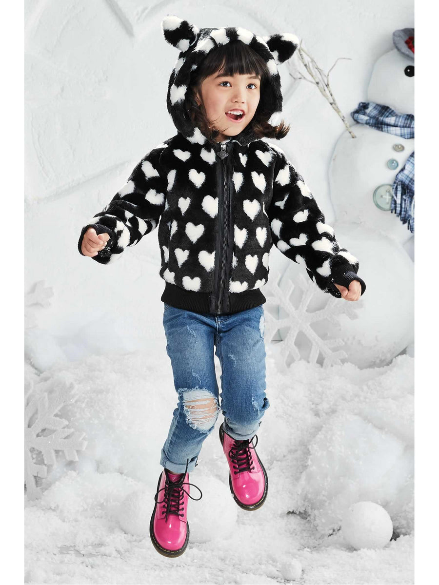 Girls Soft Hearts Hooded Jacket