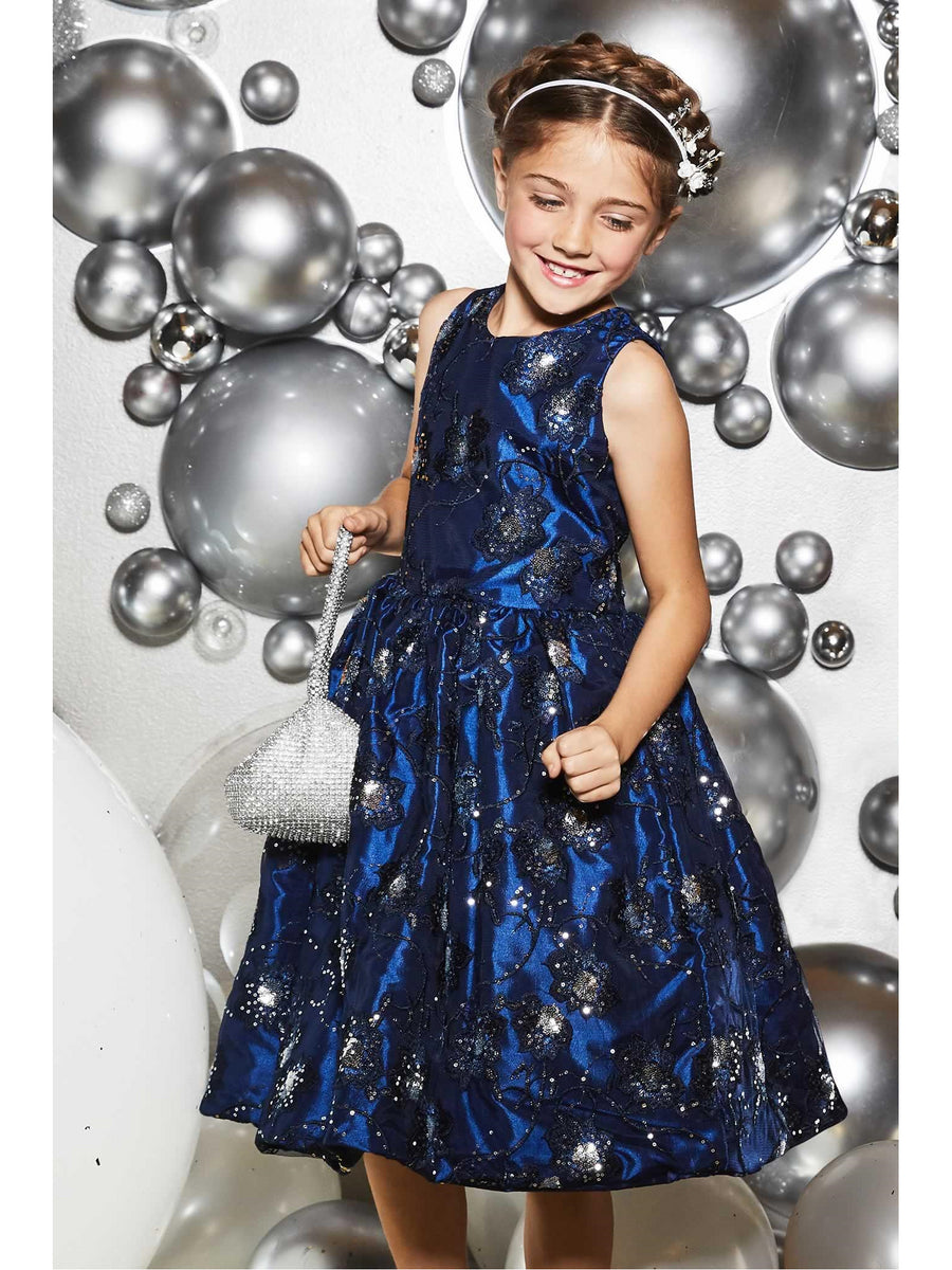 Girls Sparkly Flowers Dress