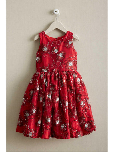 Girls Sparkly Flowers Dress  red 1