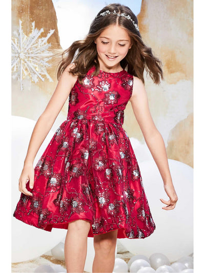 Girls Sparkly Flowers Dress  red alt1