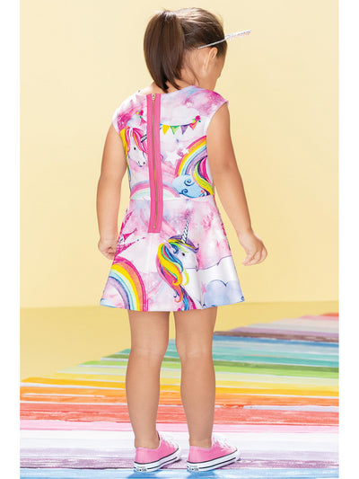 Girls Sparkly Unicorn Castle Dress  rnbw alt1