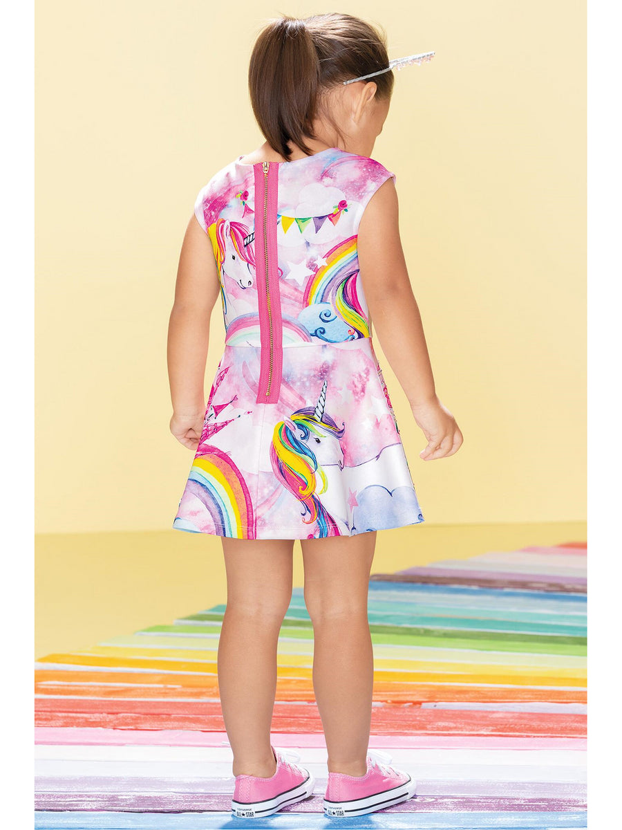 Girls Sparkly Unicorn Castle Dress