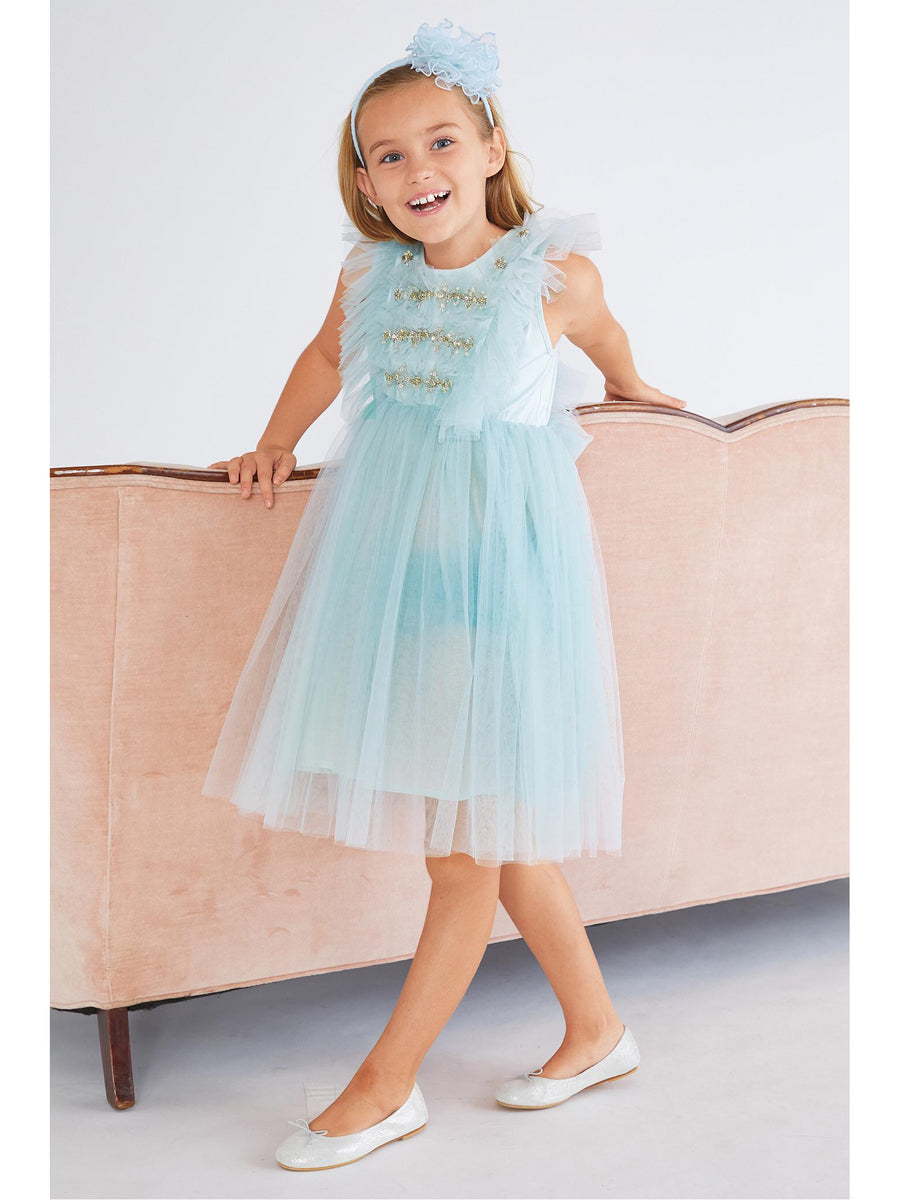Girls Spring Sky Beaded Tulle Dress