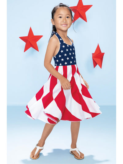 Girls Stars and Stripes Swirl Dress
