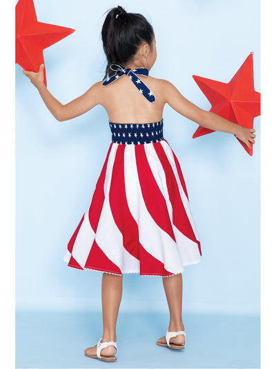 Girls Stars and Stripes Swirl Dress  rwb alt1