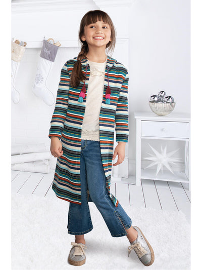 Girls Striped Hooded Cardigan