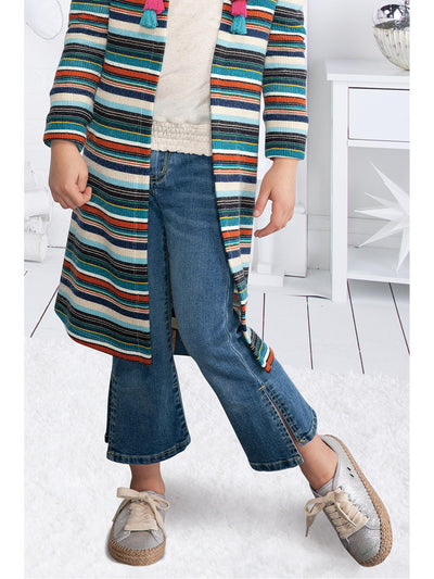 Girls Striped Hooded Cardigan  nvm alt1