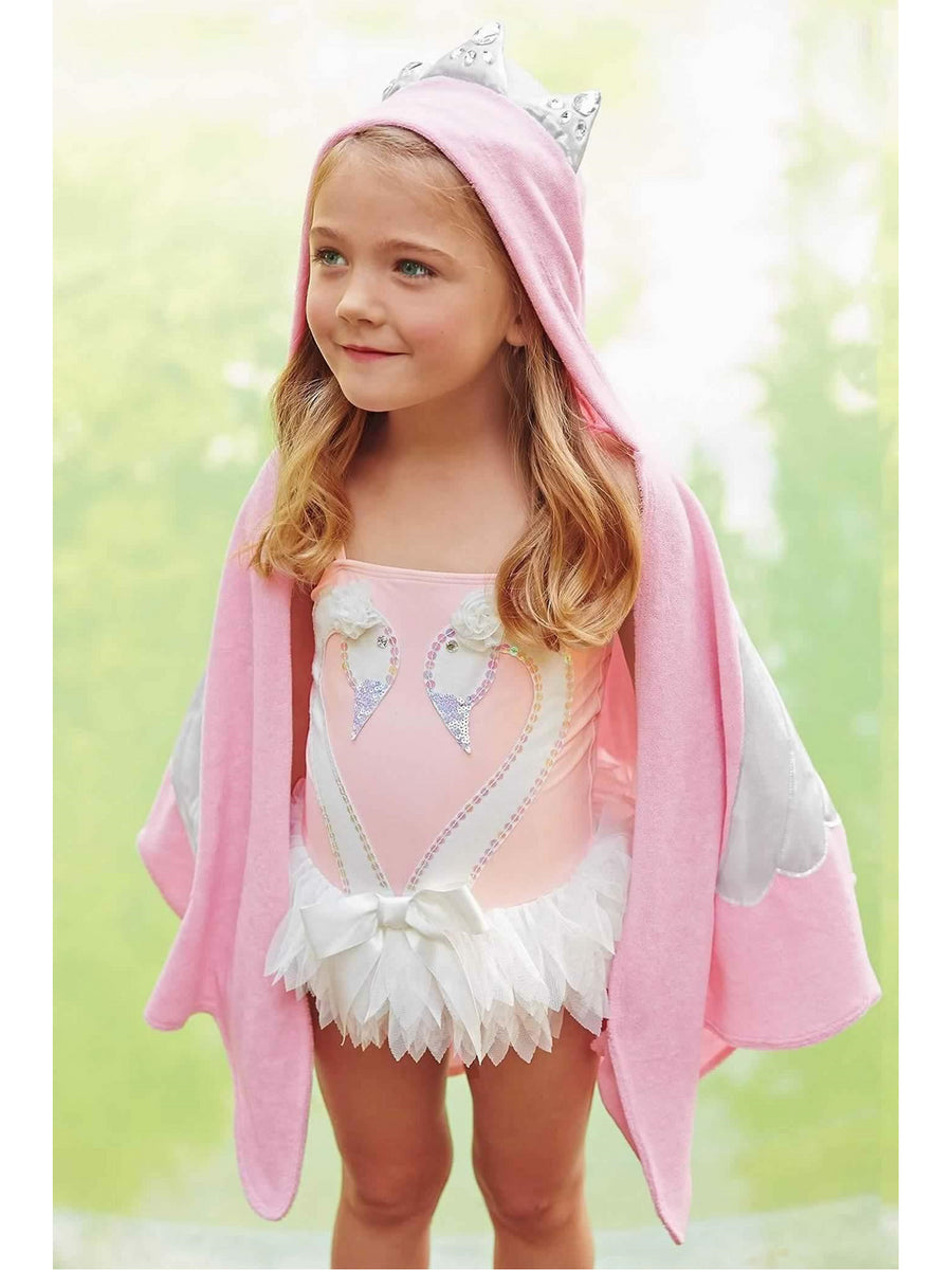 Girls Swan Skirted Swimsuit