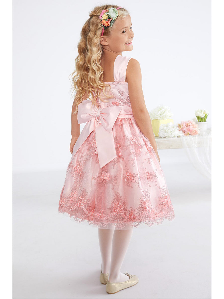 Girls Sweet Satin & Lace Dress