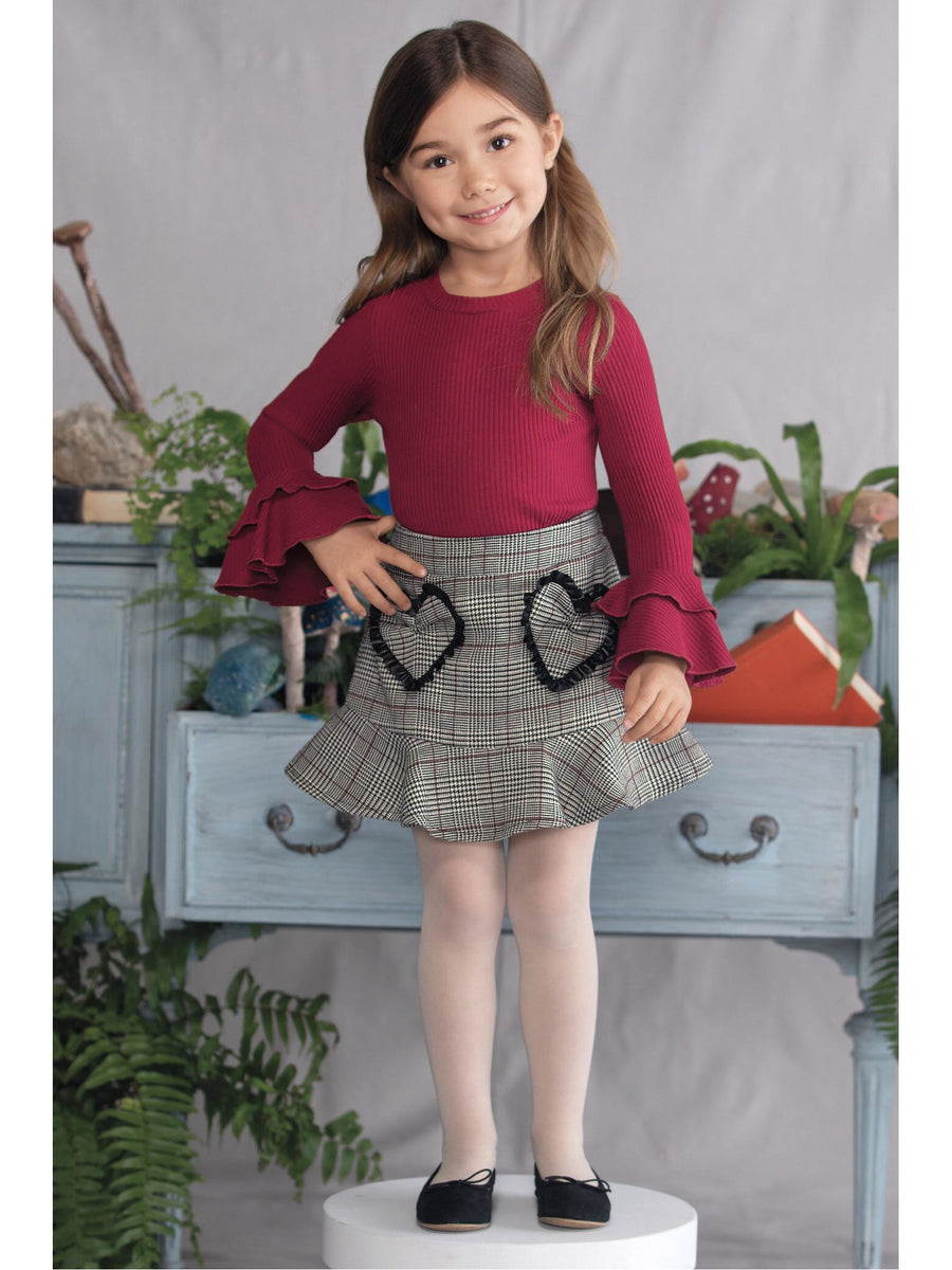 Girls Sweetheart Plaid Ruffle Skirt