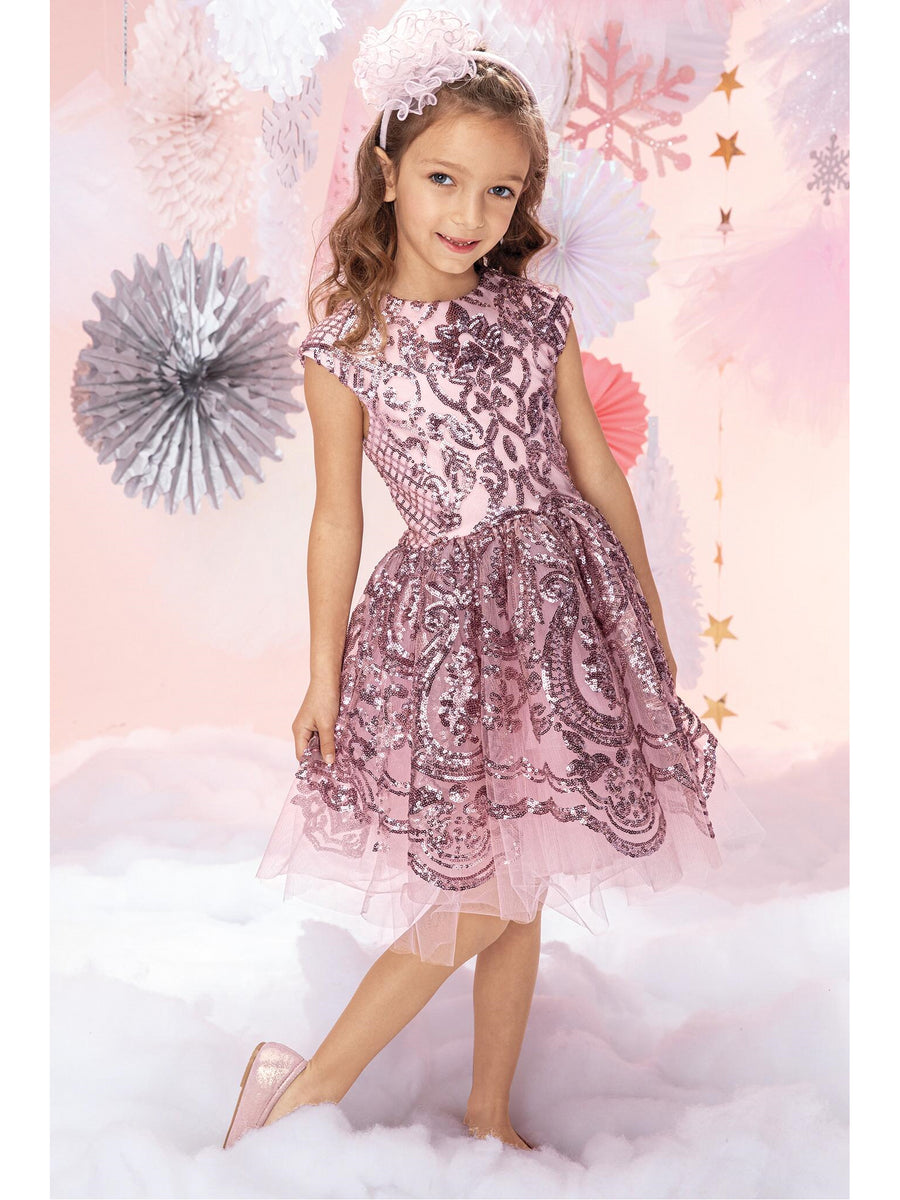 Girls Sweetheart Sequin Tulle Dress