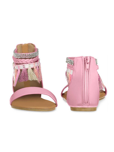 Girls Tassel Trim Ankle Strap Sandals  pkm alt1