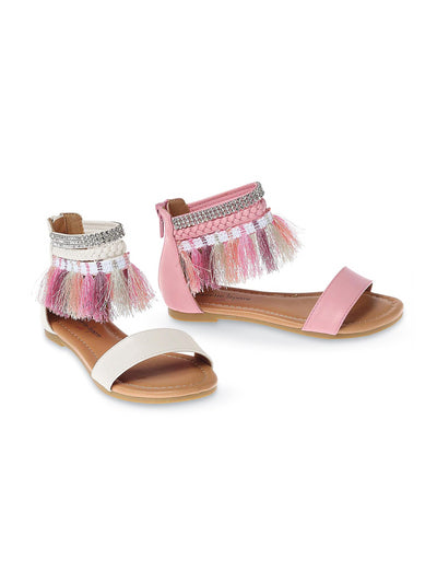 Girls Tassel Trim Ankle Strap Sandals  whm 1