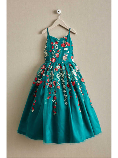 Girls Teal Embroidered Flowers Dress