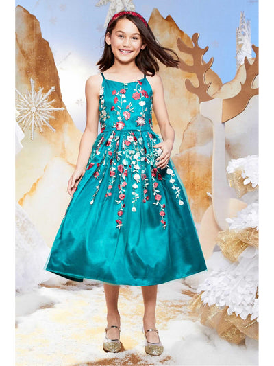 Girls Teal Embroidered Flowers Dress  tea alt1