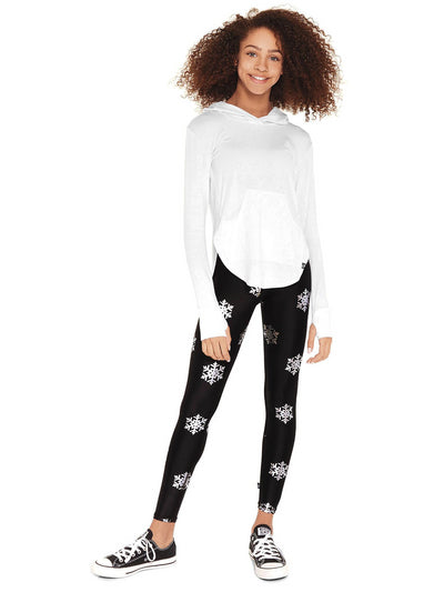 Girls Terez Foil Snowflake Leggings  blk alt1