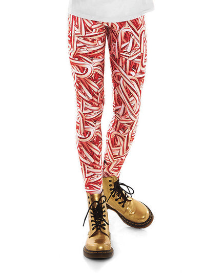 Girls Terez Glitter Candy Cane Leggings