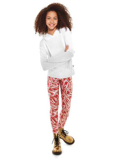 Girls Terez Glitter Candy Cane Leggings  red alt1