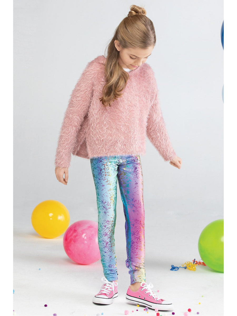 Girls Terez Rainbow Splatter Foil Leggings